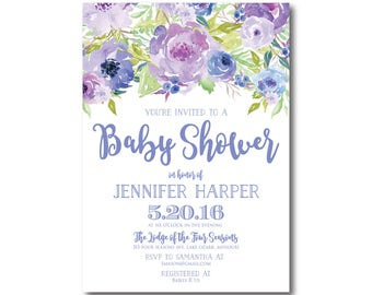 Floral Baby Shower Invitation Baby Shower Invite Girl Baby Shower Invitation Shower Invitation Printable Baby Shower Invitation #CL330