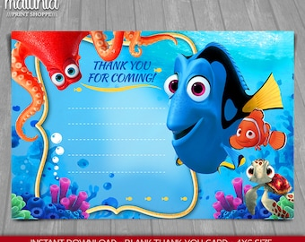 Finding Dory Thank you card - INSTANT DOWNLOAD - Finding Nemo Dory thank you card blank - Disney Pixar Finding Dory Birthday Party