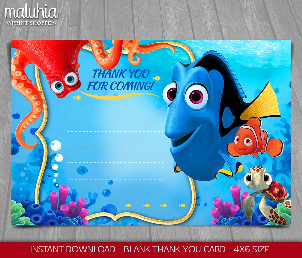 Finding Dory Thank you card INSTANT DOWNLOAD Finding Nemo