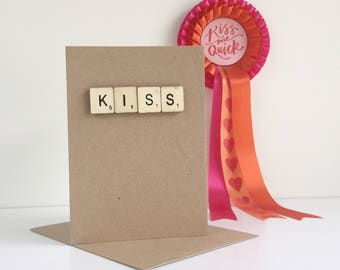 Scrabble Letter Valentines Day Love Card - Kiss