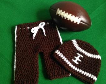 Newborn Boy Photo Prop, Crochet Football Hat and Pants, Handmade Crochet Photo Prop, Newborn Football Pants and Hat