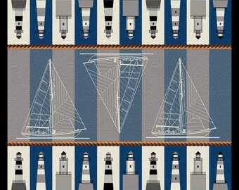 Shore Lights, nautical, lighthouses, blue rug, sailboats, contemporary, home accent