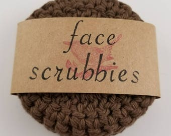 Brown Eco Friendly Reusable Face Scrubby, Reusable Makeup Remover Pads, Brown Face Scrubbies