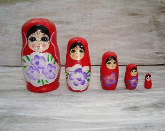 Vintage Matryoshka, Vintage Wooden Doll, Russian Doll, USSR Matryoshka, Vintage Russian Doll, Russian Wooden Doll