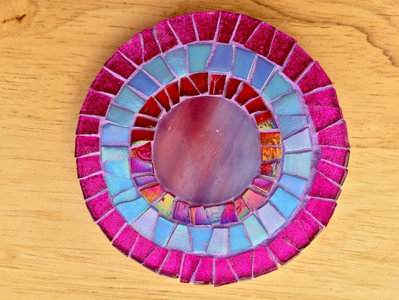 Handmade glass round pink and blue mosaic coaster Unique gift idea Living room decor Gift for her