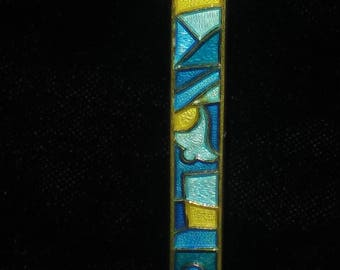 David Anderson,Norway,Guilloche,Blue and yellow,Sterling,Enamel,Hair Barret
