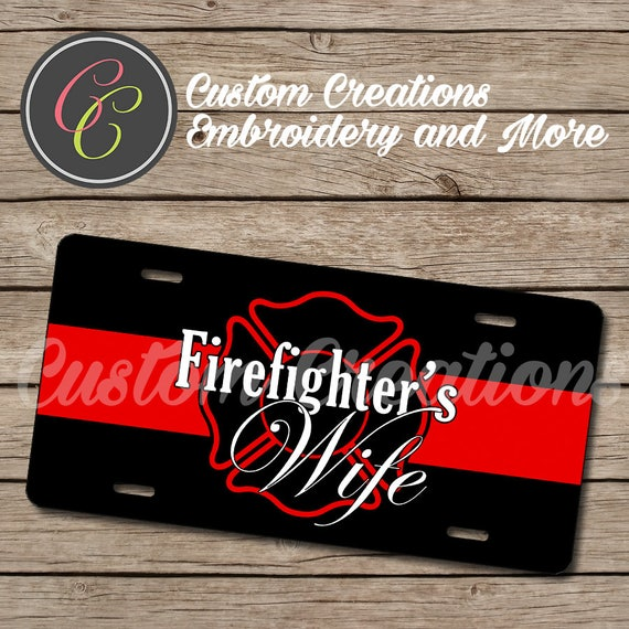 Firefighter\'s Wife License Plate Frame and Seat Belt