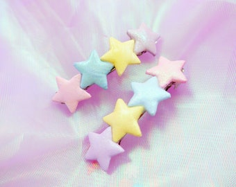 Hand-painted Pastel Sparkle Stars Hair Clip - Fairy Kei Hair Accessory - Set of 2