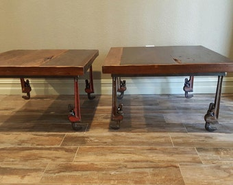 Monkey wrench end tables, coffee stand,