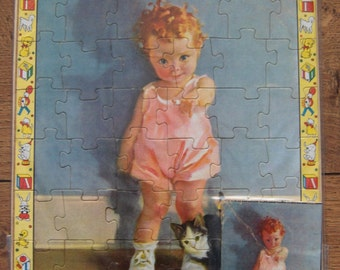 vintage 50s 60s nursery rhyme childrens puzzle TODDLER and KITTEN 49 piece 9 x 12 inches