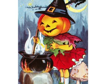 Halloween Pumpkin Card - Jack O Lantern Witch Stirs Cauldron