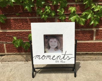 Hand-painted Rustic Wooden 'Moments Like These' Picture Frame with Cast Iron Moveable Stand