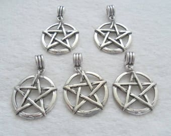Antique Silver Pentacle Pendant, 40 mm by 25 mm, Package of 5 (2156)