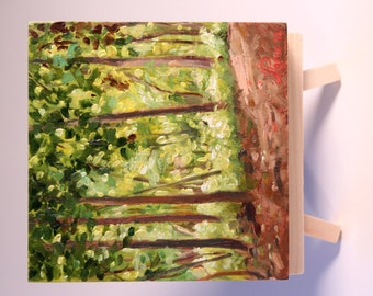 Small original landscape oil painting - Pathway Through the Trees