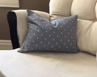 Grey and White Throw Pillow - Envelope Style Case