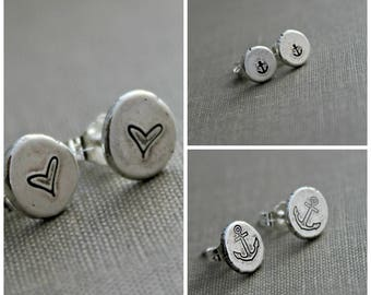 Sterling silver stud earrings - Anchor or heart design - Rustic pebble earrings - Recycled silver - Post earrings - Tiny dot earrings
