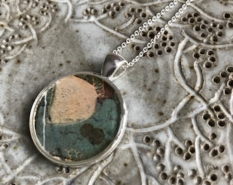 Abstract Resin Necklace-Resin Bezel-Modern