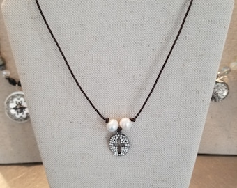 Pave Cross with Freshwater Pearls on Leather Necklace
