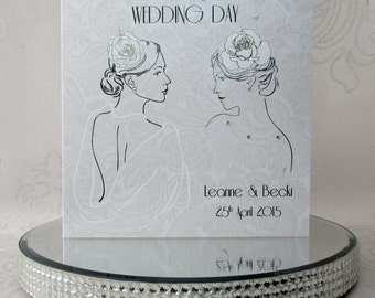 Luxury Handmade Personalised Gay Wedding Card Lesbian Wedding Card Female Civil Partnership made with Swarovski Crystals - FREE UK DELIVERY!