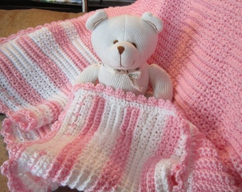 SHIPS FREE* Pink and White Textured Baby Blanket, Pink and White Baby Throw, Baby Shower Gift, Crib Afghan, Car Blanket, Hospital throw