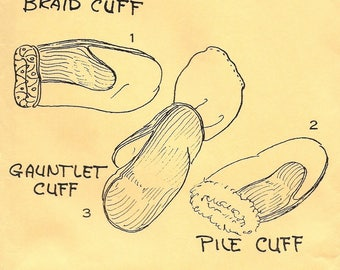 A Braid Cuff, Gauntlet Cuff and Pile Cuff Mittens Pattern for Children: Uncut - Mittens by Lois