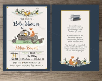 Woodland Baby Shower Invitations • Fox Hedgehog Owl Bunny Raccoon Squirrel • book instead of a card • printable Invites
