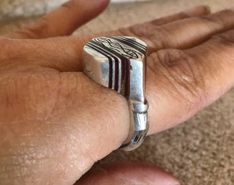 Tuareg Solid Large Silver Ring with Ebonywood Inlay, Inner Diameter 1.9 cm, US size 9 1/4