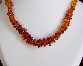 Necklace genuine amber, honey-colored two-color