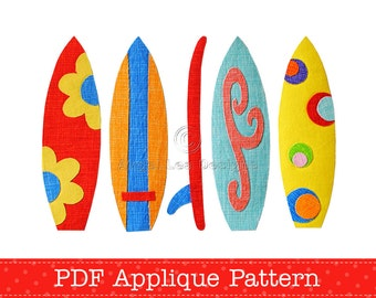 Surfboards Applique Template PDF Pattern Holiday Beach Fun Includes 5 Surfboard Designs by Angel Lea Designs