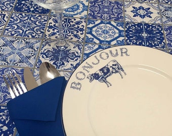 French Tablecloth, Cotton Tablecloth, Blue Tablecloth