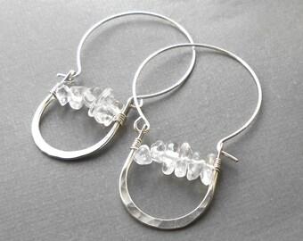 Sterling Silver Crystal Hoop Earrings, Clear Quartz Hammered Hoops, Unique Silver Earrings