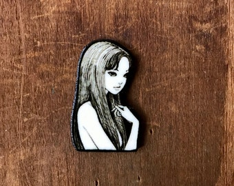 Junji Ito Tomie Japanese Horror Manga Graphic Novel Anime Comic Book Character Pulp Pin Button Pinback