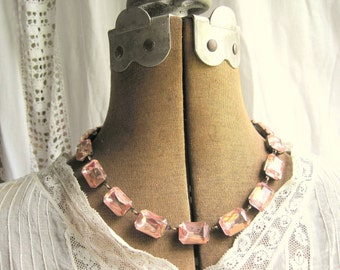 Blush pink Statement Necklace, pink crystal necklace,  georgian collet, Anna Wintour necklace, pink wedding necklace.