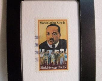 Martin Luther King,  Black Heritage, Black Pride,  Framed Postage Stamp, Framed postage stamp art, Collectible postage stamp