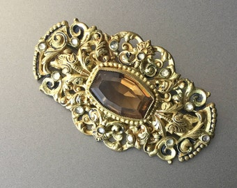 Gold Filigree Brooch with Topaz and Clear Rhinestones Saw Tooth Bezels - Vintage Brooch Pin