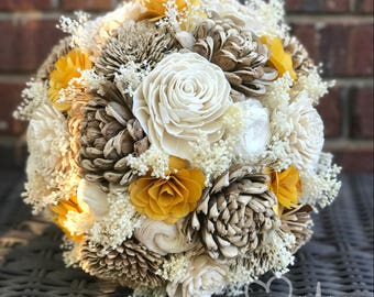 Yellow Sola & Wooden Flower Bouquet, Rustic Country Wedding, Fall or Summer Flowers, Round Bouquet with Burlap, Custom Color Bouquet