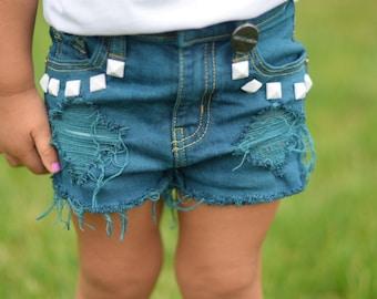 Erica shorts - custom hand-dyed distressed denim girl's shorts for baby , toddler , kid - teal denim , cutoff shorts , jean shorts