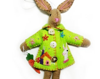 "7.5"" Brown Bunny Rabbit in Green Coat Hand Stitched Handmade Wool Felt Applique Ornament Plush Doll"