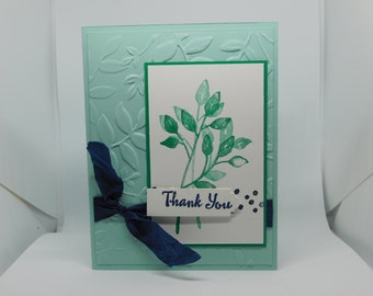 Green/Navy Leaves Thank You Card
