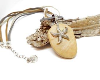 Natural Stone Necklace, Boho Necklace, Bohemian Necklace, Sea Nautical Necklace, Starfish Necklace, Silver Boho Necklace,Camel Boho Necklace