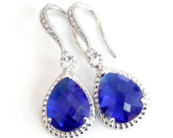 Cobalt Blue Teardrop Crystals Set in Silver or Gold with Crystal Detailed French Earrings