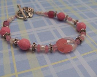 Pink rosebud bracelet and earrings