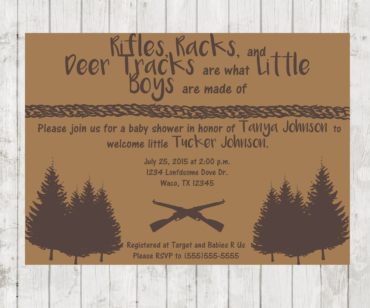Boy Hunting Baby Shower Invitation Outdoors Theme Invites