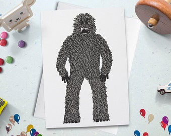 Bigfoot Card, Cryptozoology, Outdoors Card, Yeti Card, Sasquatch Card, Abominable Snowman, Yeti Gift, Bigfoot Gift, Monster Greeting Card