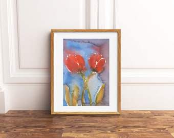 Little framed painting, red tulips, original watercolor, little picture, dining room or bedroom decoration, art, gift idea for her birthday.