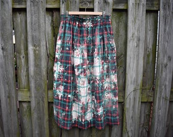 Upcycled Bleached Plaid Skirt / Large/XL