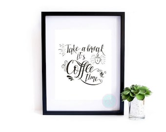 PRINTABLE Art Breakroom Sign Coffee Decor Coffee Quote Office Print Officed Decor Coffee Shop Art Kitchen Print Funny Quotes But First Sign