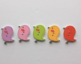 Cute Bird Buttons - Wood - 5 Count