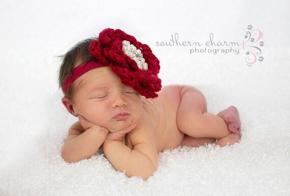 Baby Mädchen Stirnband rote Blume Weihnachten Neugeborenes