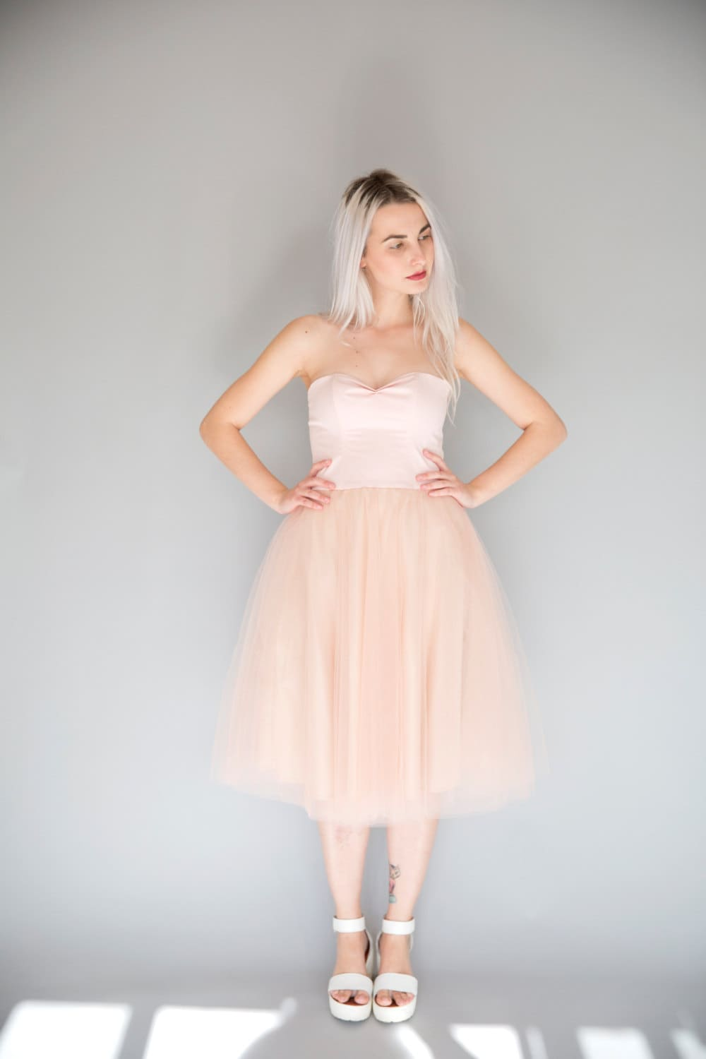 Powder pink tulle dress / sweetheart strapless tea length